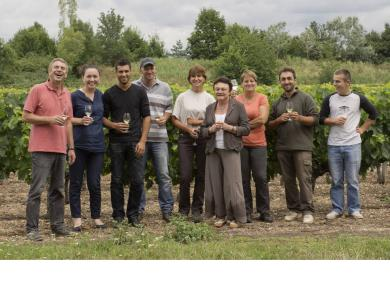 A picture of Chateau Penin's team following a harvest lunch..