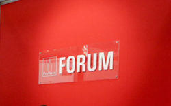 "Photo: Lettering on the wall of the forum ""ProWein Forum"""