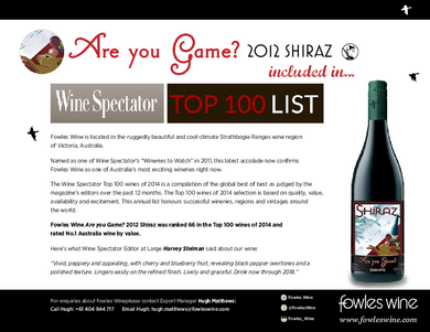 Are you Game? 2012 Shiraz, Wine Spectator's TOP 100 List