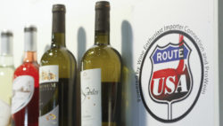 "Photo: Trade fair stand with label ""Route USA"""