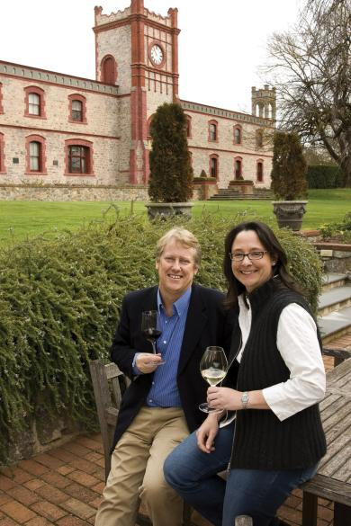 Robert Hill-Smith (Managing Director) & Louisa Rose (Chief Winemaker) in front of the Yalumba Clocktower