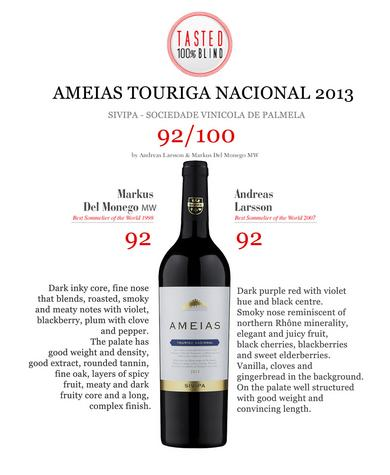 Ameias Touriga Nacional 2013 - 92/100 points by world top Sommeliers