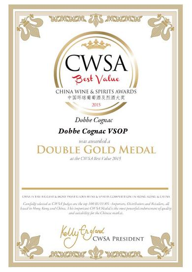 Cognac DOBBÉ VSOP Double Gold medal winner 2015
